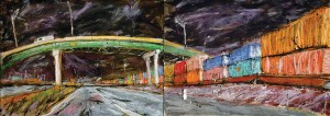 Double Stack Train Cars, mixed media on paper, 84x30 inches