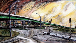 Overpass, mixed media on paper, 42x24 inches