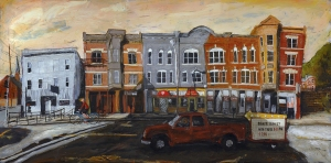The E Muntz Block, oil on panel, 36x24 inches