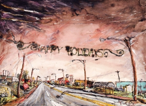 View Driving into Spencer, mixed media on paper, 42x30 inches