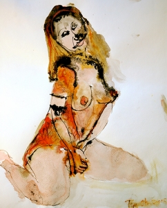 Woman in a Flowered Blouse, mixed media on paper, 14x17 inches