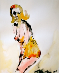 Woman with an Orange Corset, mixed media on paper, 14x17 inches