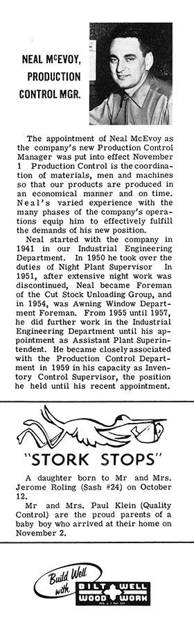 from the Bilt-Well Bulletin, November, 1960