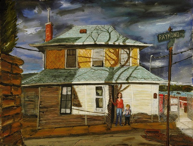 Raymond and Fenelon Place, mixed media on paper, 30x22 inches