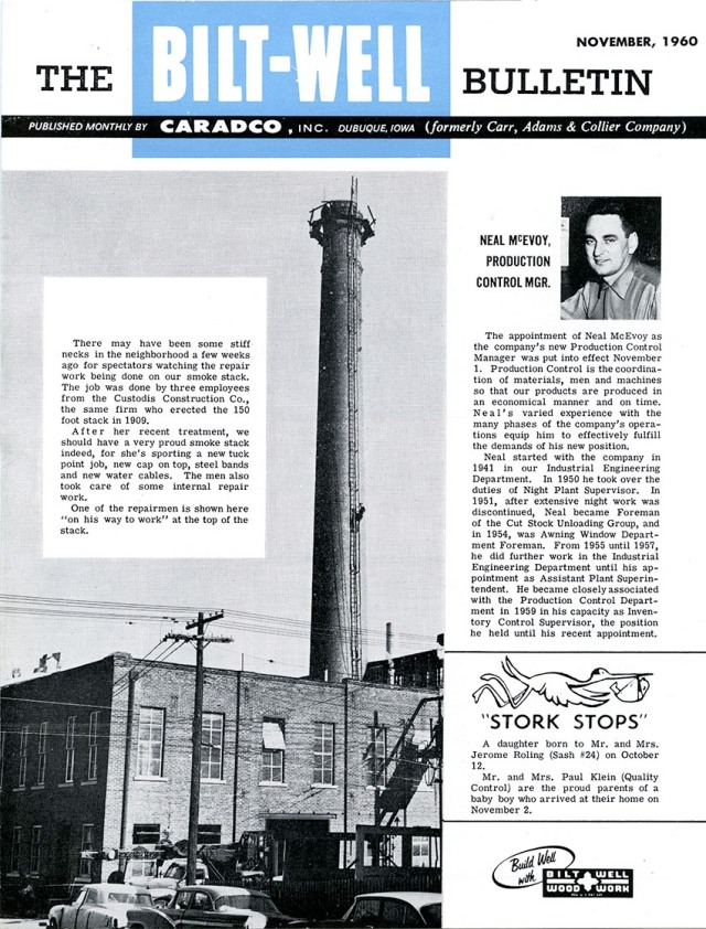 The Bilt-Well Bulletin, November, 1960, showing the Avery Railing building when it was part of the Caradco powerhouse.